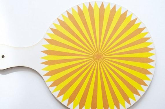 70's SUNSHINE YELLOW STARBURST Tray / Serving Platter / Pot Holder / Cutting Board