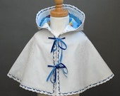Child's Hooded Wool Felt  Cape White on White Hearts Embroidery