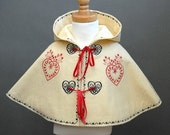 Wool Felt Girl's Cape with Red and Black Hearts Embroidery