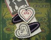 Embroidered Felt Hair Clips Red and Black Hearts