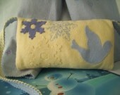 Blue Snowflakes and Dove Wool Felt Child's Hand Muff