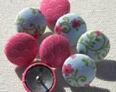 Pink and floral pushpin set