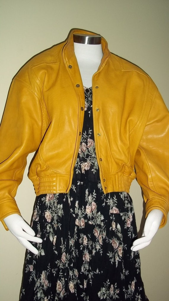 SALE Mustard Yellow Leather jacket M