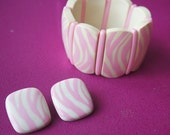 Vintage Plastic Pink and Cream Zebra Printed Bracelet and Earring Set