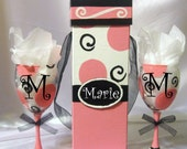 SALE Hand Painted Wine Gift Set