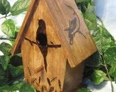 Wood Burned Rustic Birdhouse
