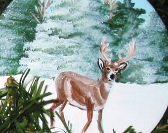 Christmas Tree Ornament, Deer Hand Painted Personalized