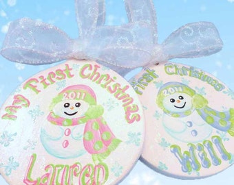 Personalized Baby's First Christmas Hand Painted Ornament