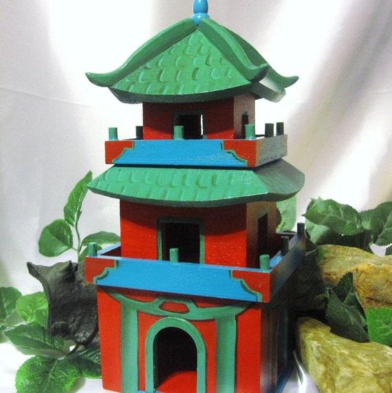 Hand Painted Japanese Pagoda Birdhouse