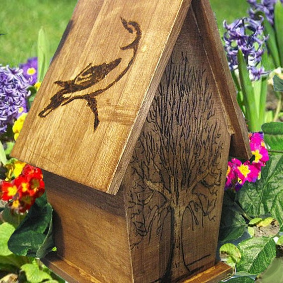 Hand Wood Burned Rustic Birdhouse