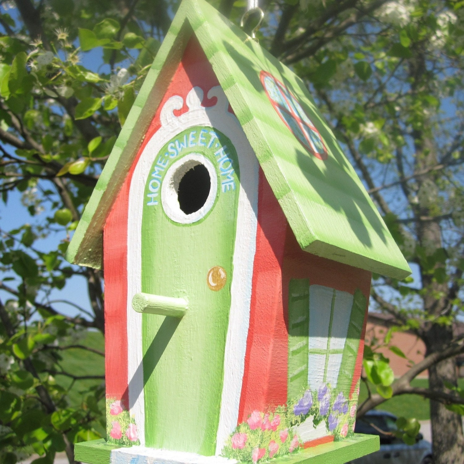 Home Sweet Home Hand Painted Birdhouse By Paintbrushedboutique