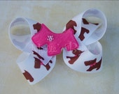 Scottie Dog bow - Bright Pink on Scottie Ribbon