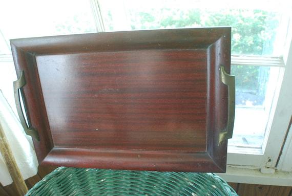 beautiful mahogany wood tray, and solid brass handles