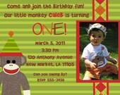Sock Monkey Custom Printable Birthday Invitation-Can you swing by