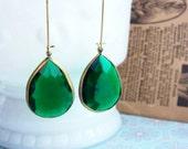 Lana in Emerald.... vintage charm earrings....