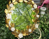 RESERVED  for Sheila -Gorgeous Vintage Italian Tole Gilt Leaves White Roses Large Mirror