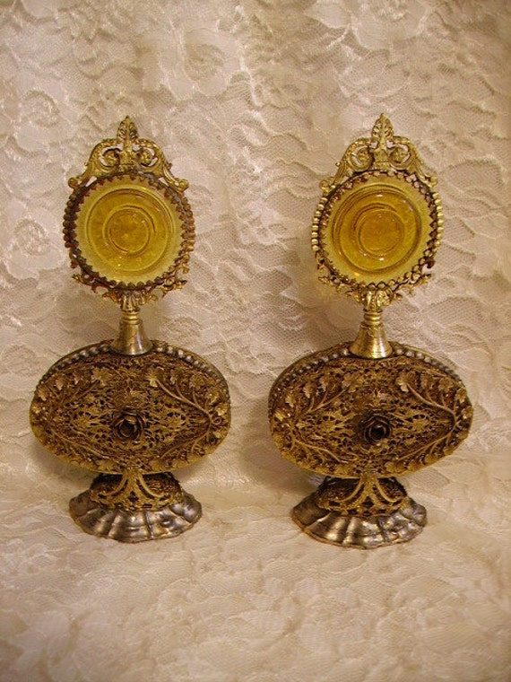 RESERVED for Barbara -Vintage Pair Gold Filigree Perfume Bottles Amber Glass/Roses