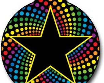 Star on Rainbow Background Dog ID Tag - Custom, Metal, Fully Personlized - Higher Quality