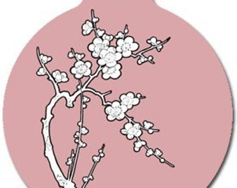 Zen Cherry Blossom Pet ID Tag - Custom, Metal, Fully Personlized - Higher Quality