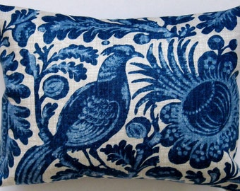 Bird Pillow Cover - Decorative Pillow - Blue Pillow -  Floral Pillow -  12 by 16 inch