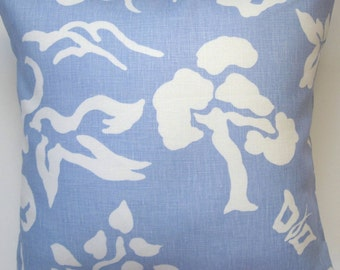 "Blue and White Pillow Cover - Decorative Pillow -  Floral Pillow - Linen Pillow - 18"" Square"