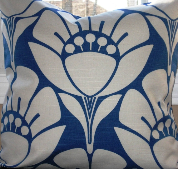 Blue and White Pillow Cover - Contemporary Floral Pillow Cover - Home Dec Fabric--18 Inch Square--REVERSIBLE--FREE SHIPPING
