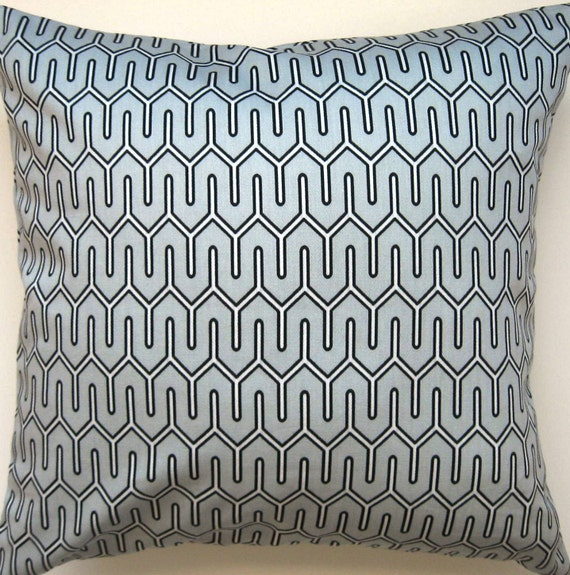 Grey and White Pillow Cover - Dwell Studio - Maze Work in Dove--18 Inch Square--REVERSIBLE--FREE SHIPPING