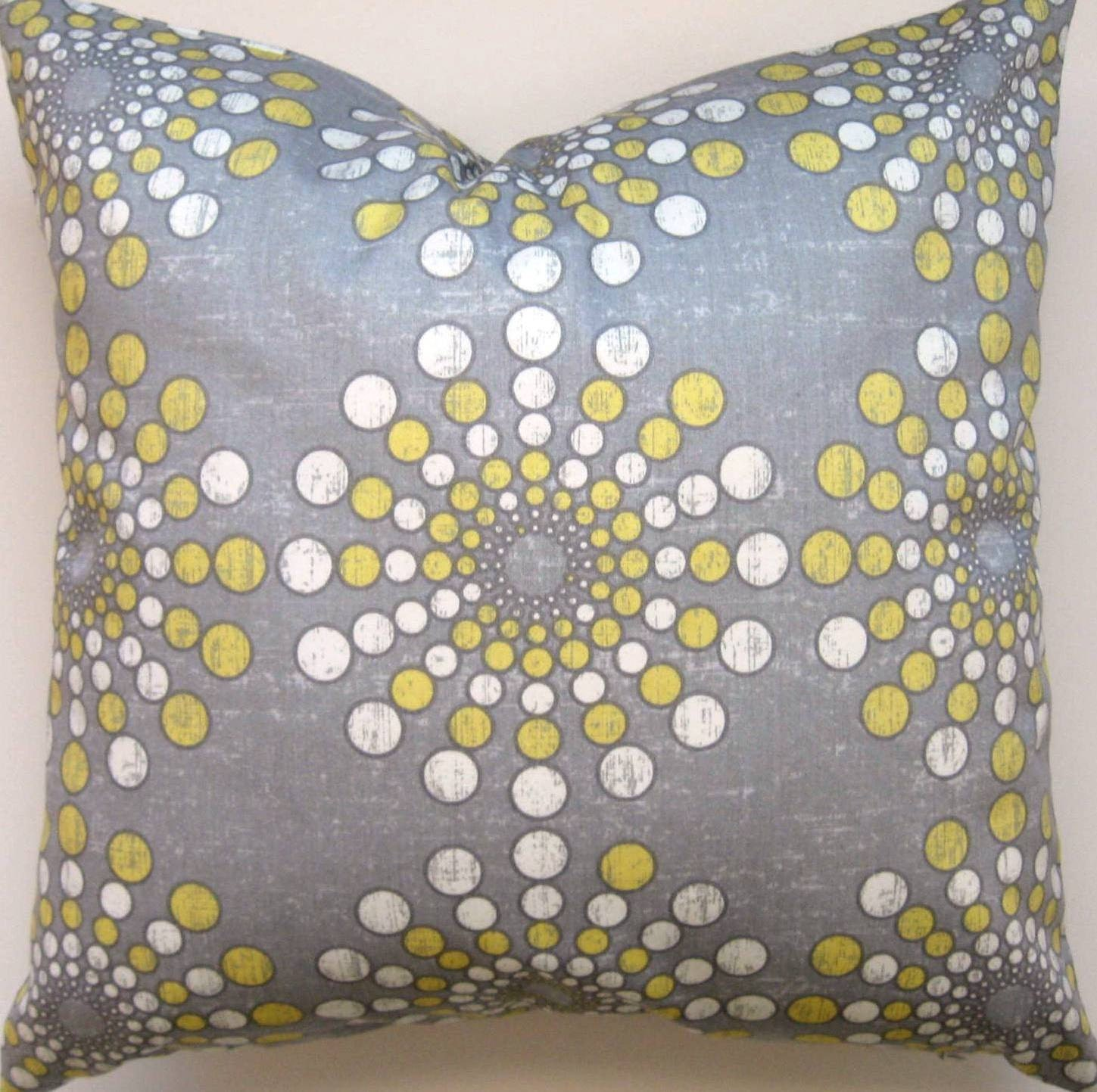 Grey And Yellow Decorative Pillows : Grey and Yellow Pillow Cover Gray and Yellow Pillow Cover