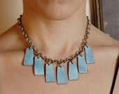 DECO Vintage Silver Chain with Dangly Geometric Blue ENAMEL Rectangles CHOKER