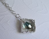 Recyled Fine Silver Filigree Open Cage Czech Crystal Necklace