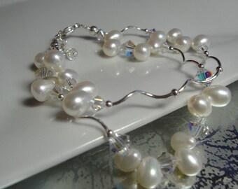 Crystal Pearl Sterling Twist Bridal Bracelet