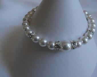 Single Pearl Elegance Bracelet - Swarovski White Pearl Bridal Bracelet