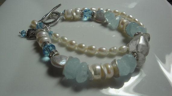 Aquamarine Sky - Pearl, Quartz, Crystal and Aquamarine double strand charm bracelet