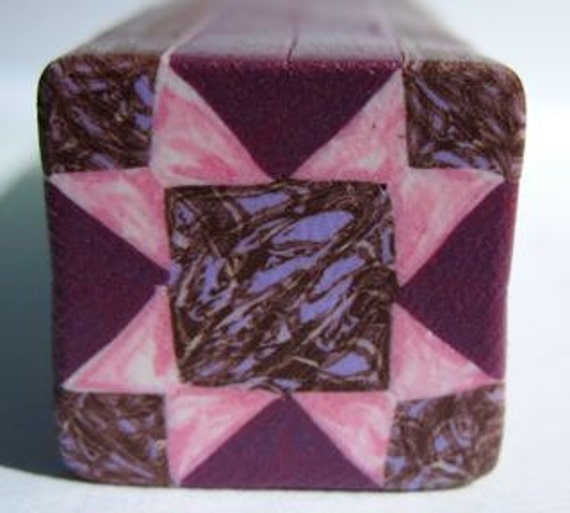 Dusty pink quilt block cane: raw fimo