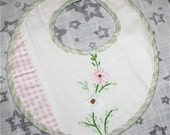 OOAK Baby Drool Bib - Vintage Repurposed Embroidered Floral Linen - Great Unique Gift - Ready to Ship