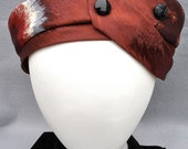 Rust Turban Made From Repurposed Neckties with Vintage Black Glass Buttons