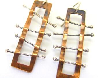 Long ladder bamboo earrings