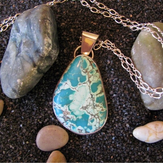 Bisbee Turquoise Pendant Necklace, large pendant, silver turquoise necklace, genuine turquoise necklace, turquoise jewelry