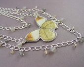 Butterfly Chain Necklace-Swarovski Crystal Beaded Gold and White