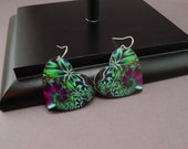 Heart Earrings Psychedelic Green and Magenta