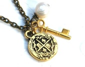 Buried Treasure Necklace - Replica Pieces of Eight Charm with Tiny Gold Skeleton Key and Freshwater Pearl