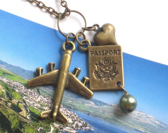 The Globetrotter's Necklace with Airplane, Passport and Heart Charms in Antique Gold