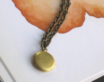 The Tiniest Brass Locket Necklace