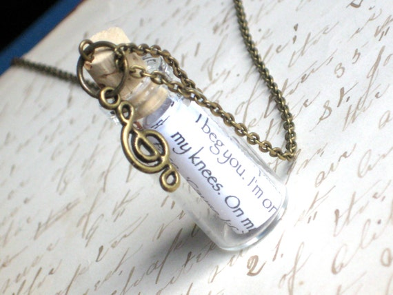 Personalized Message in a Bottle Necklace, Add Your Music Song Lyrics or Wedding Vows, your choice of charm, on Antique Gold Chain