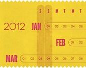 2012 Linear Letterpress Calendar