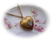 Vintage heart Locket gold tone with diamond like stones
