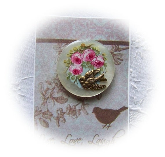 Studio Hand Painting pink roses  bird painted on vintage mother of pearl button Victorian shabby chic