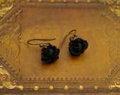 Tiny Black Rose Drop Earrings