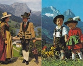 8 Vintage Costume Postcards - Alps - Germany Austria Italy - Europe