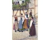 4 Vintage Costume Postcards - Odenwald - Germany - Europe